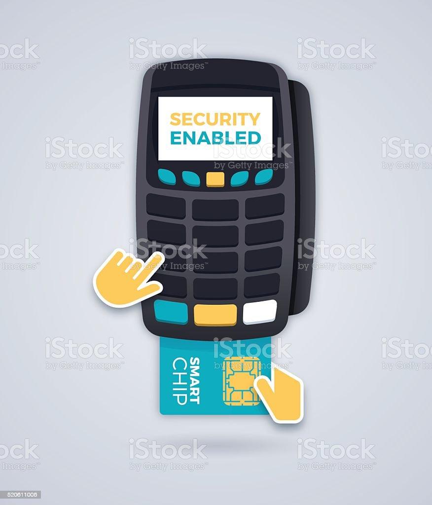 Smart Chip Card Reader vector art illustration