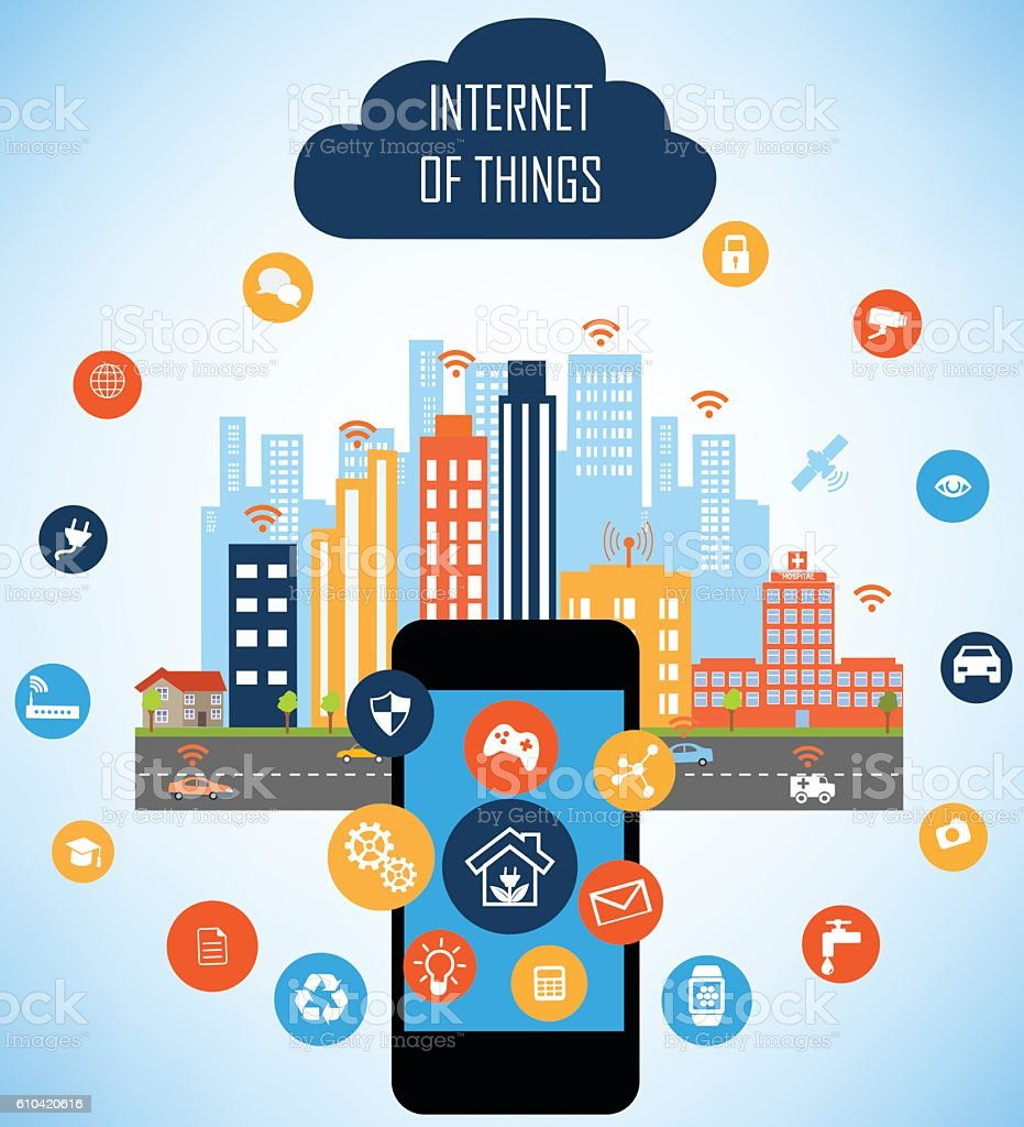 Smart City and Internet of things concept vector art illustration
