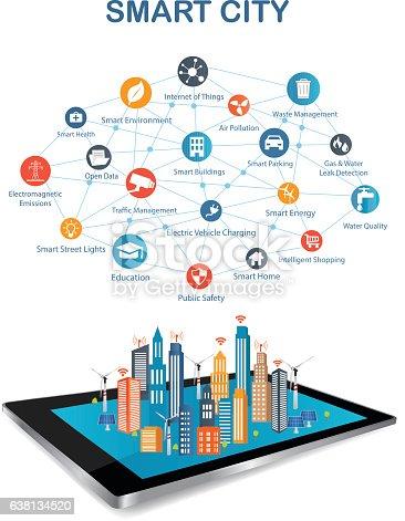 smart city and wireless communication network stock vector art smart city and wireless communication network stock vector art 638134520 istock