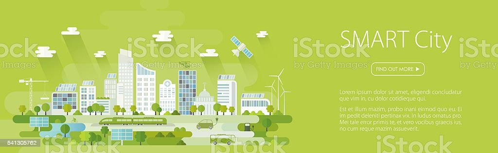Smart City Banner vector art illustration