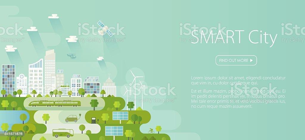 Smart City Banner vector art illustration