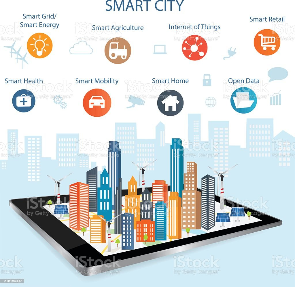 Smart city concept and internet of things vector art illustration