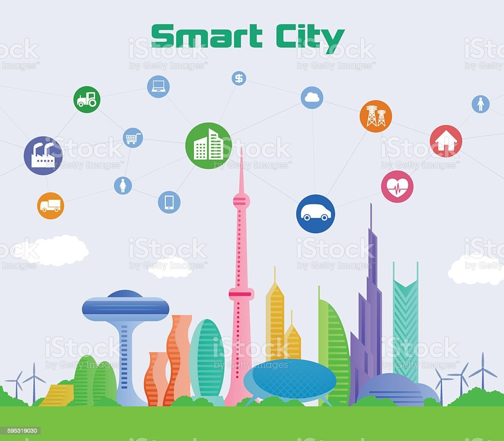 smart city conceptual illustration with various technological icons vector art illustration