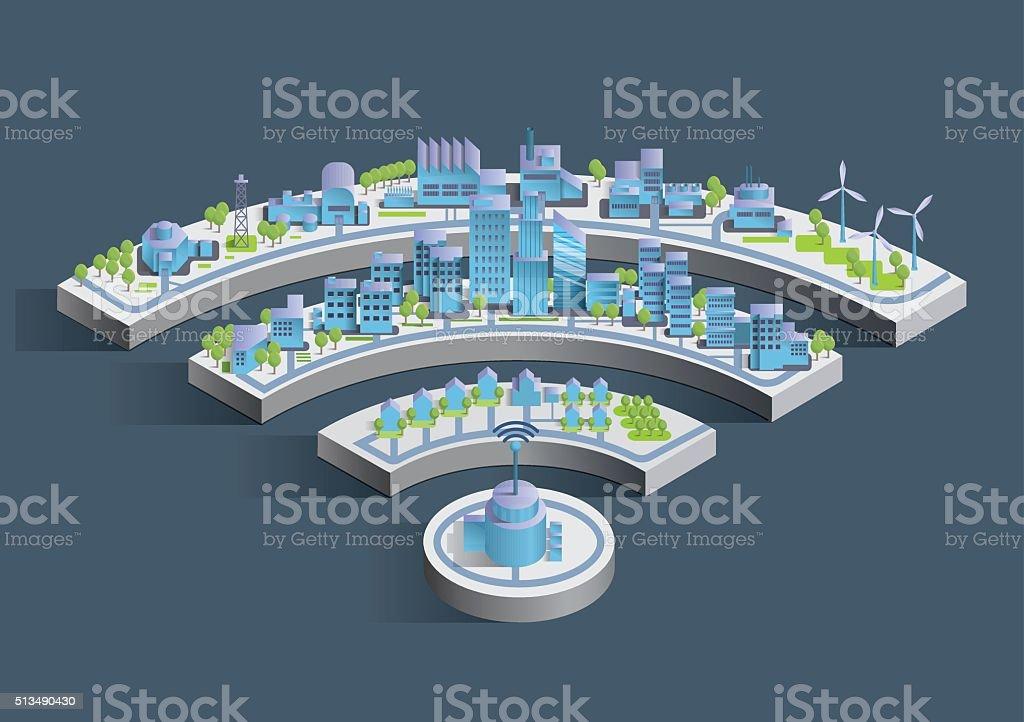 Smart city wireless connected vector art illustration