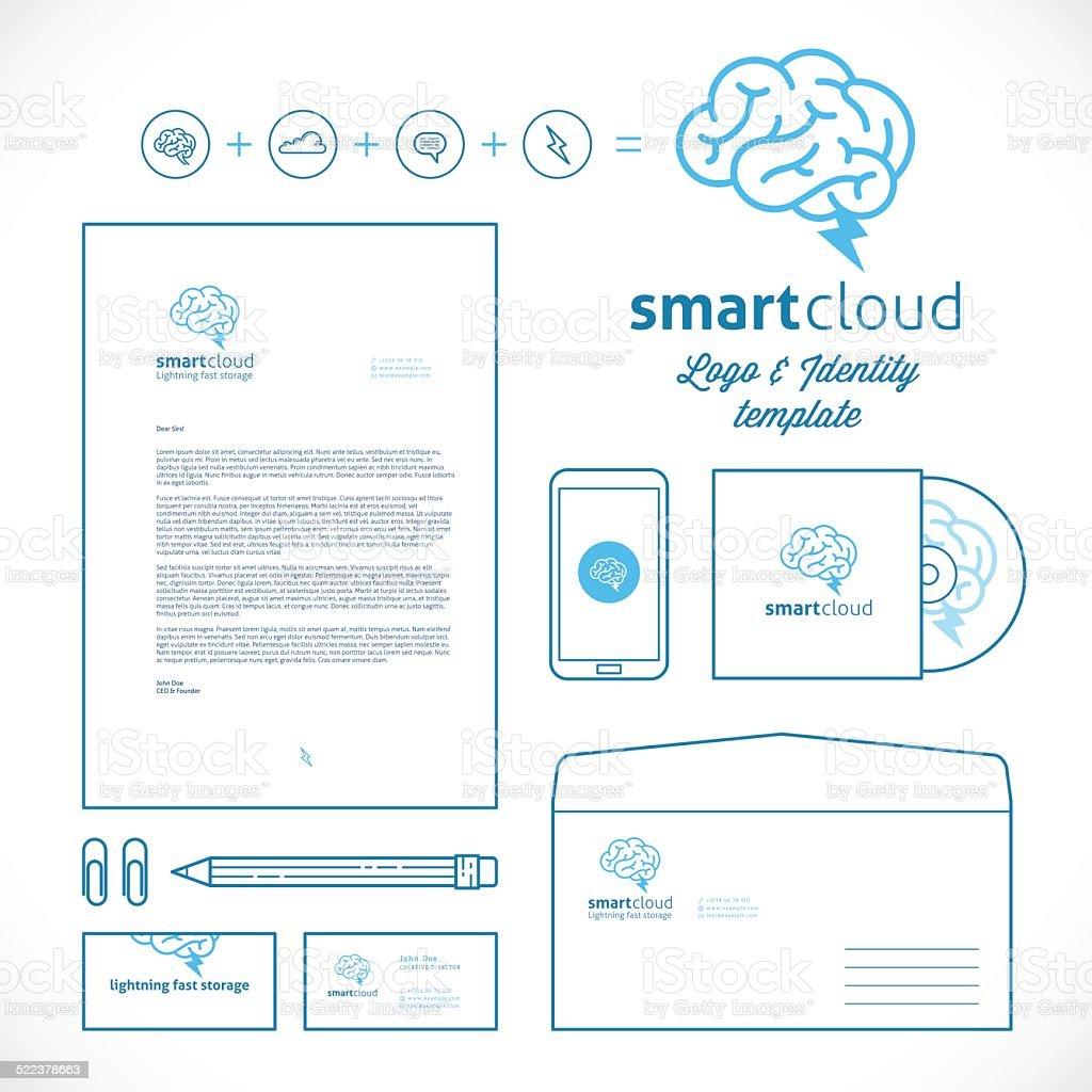 Smart Cloud Logo and Identity Template vector art illustration