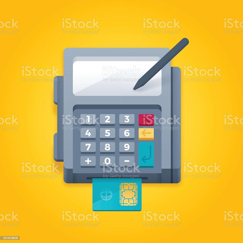 Smart Credit Card Chip Reader Payment Terminal vector art illustration