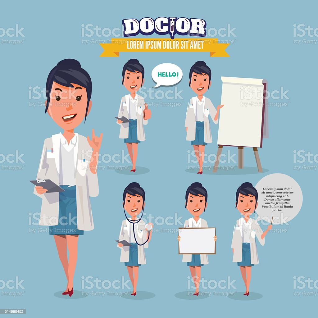 Smart doctor presenting in various action. character design. vector art illustration