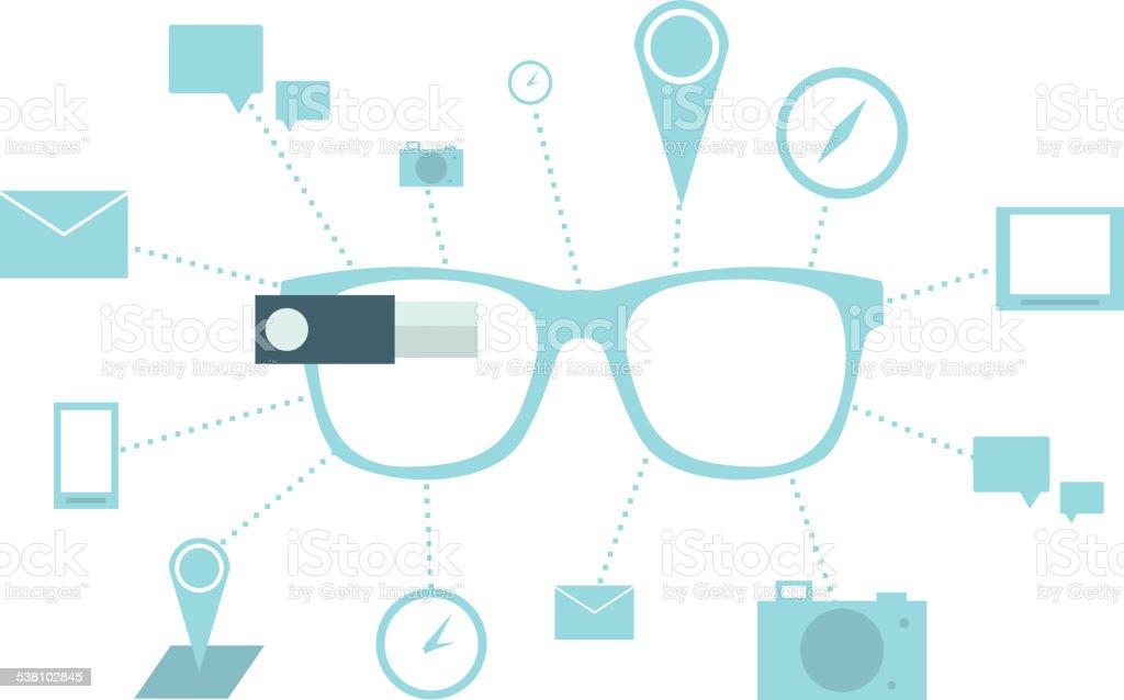 Smart glasses vector art illustration