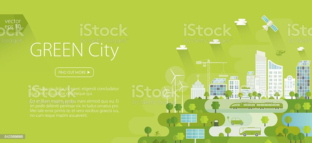 Smart Green City Banner vector art illustration