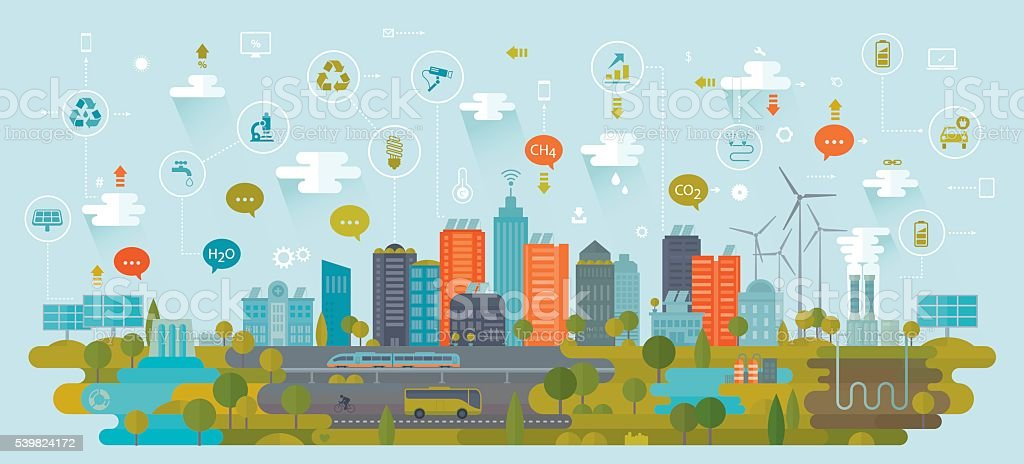 Smart Green City Using Alternative Energy Sources Including Icons vector art illustration