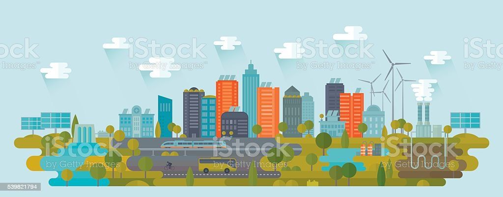 Smart Green City Using Alternative Energy Sources vector art illustration