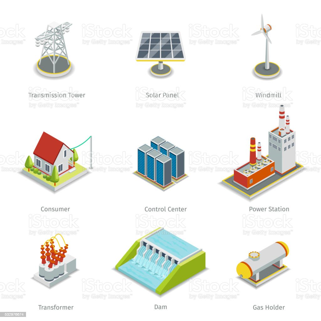 Smart grid elements. Power items vector set vector art illustration