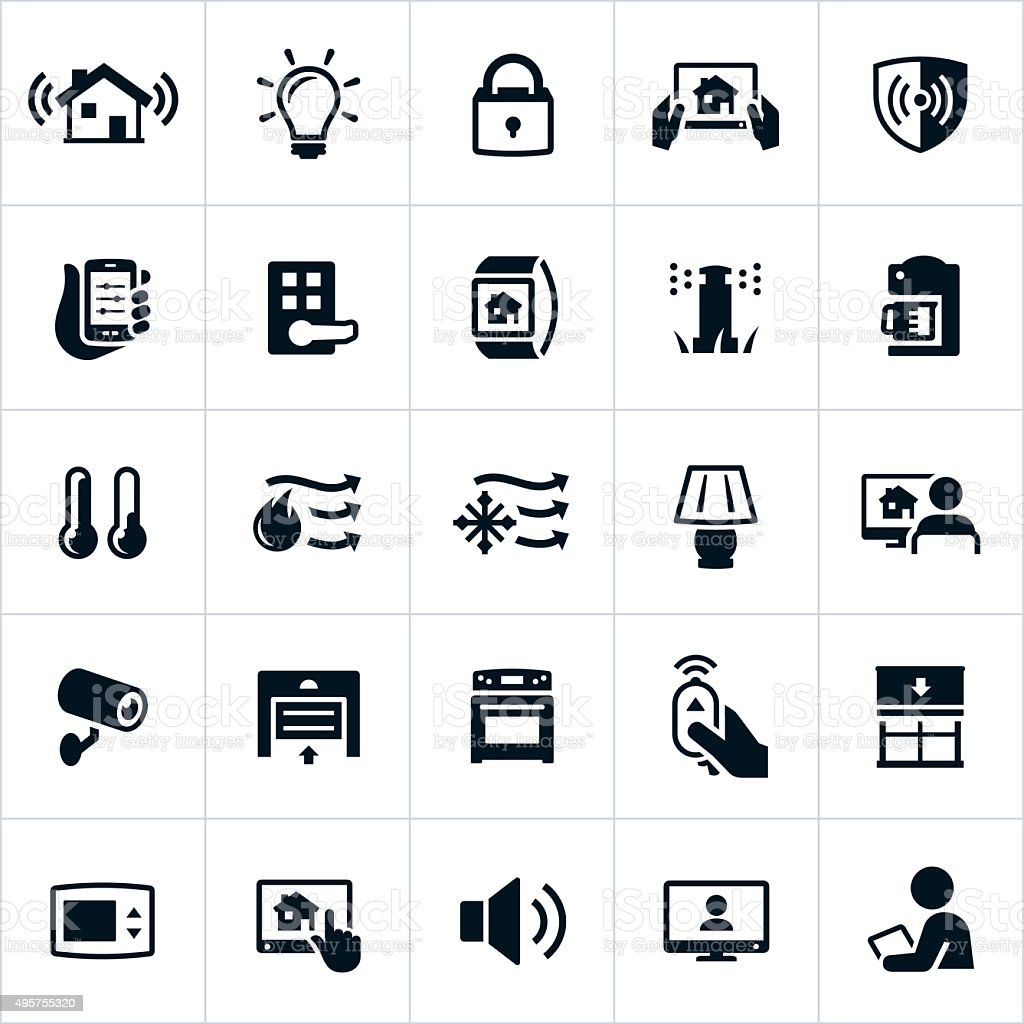 Smart Home Automation Icons vector art illustration