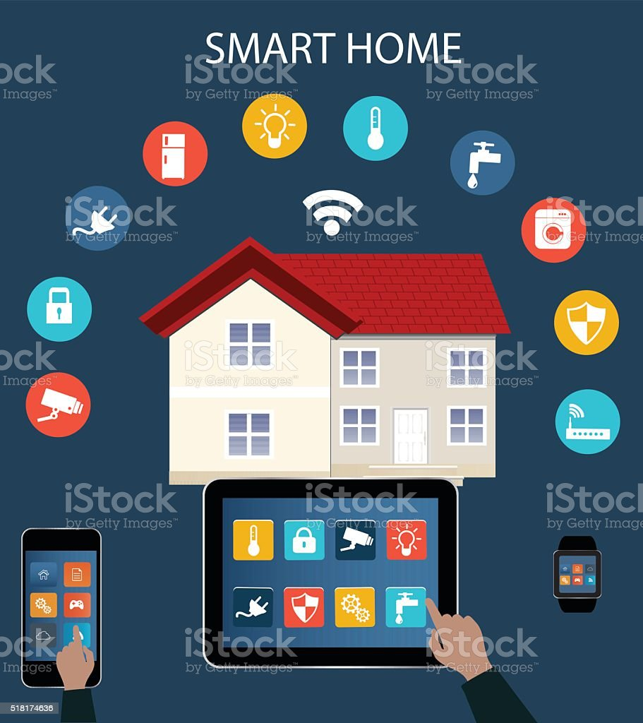 Smart home automation vector art illustration