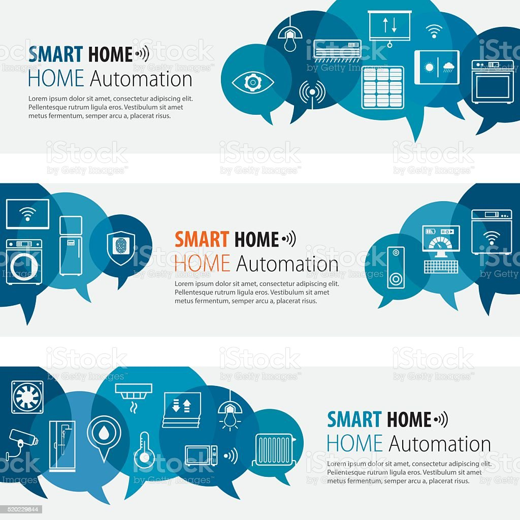 Smart Home Banners And Icons Set vector art illustration