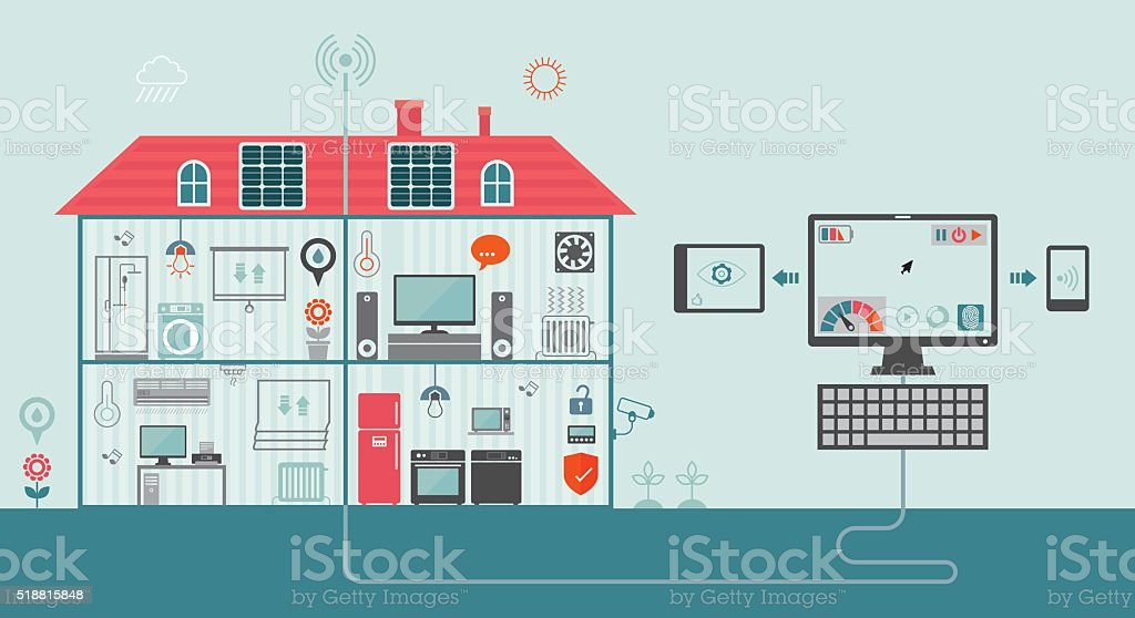 Smart Home Concept vector art illustration