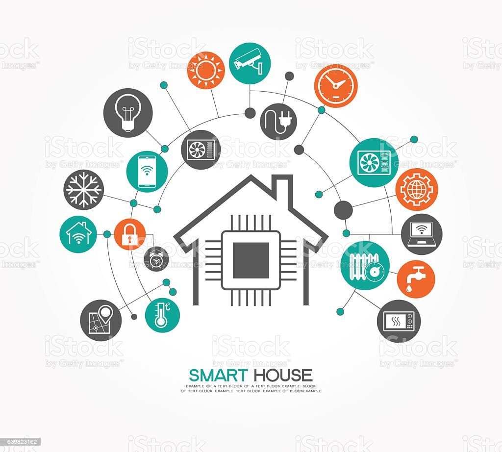 House Plans Magazine Smart Home Control Template Stock Vector Art 639823162