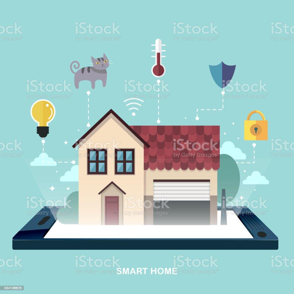 smart home flat design vector art illustration
