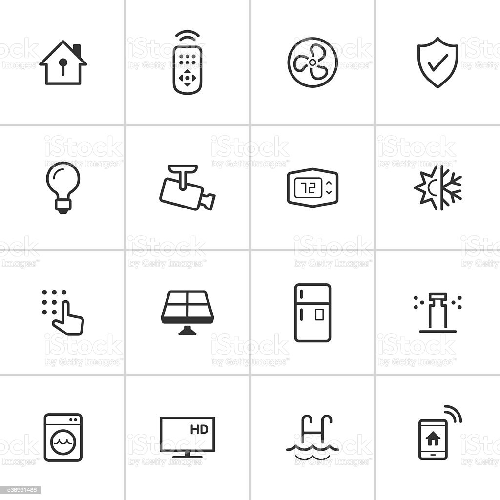 Smart Home Icons — Inky Series vector art illustration