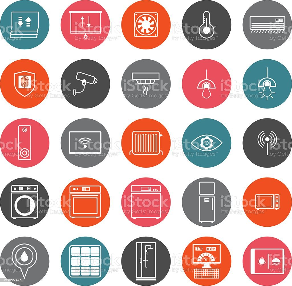 Smart Home Icons Set vector art illustration
