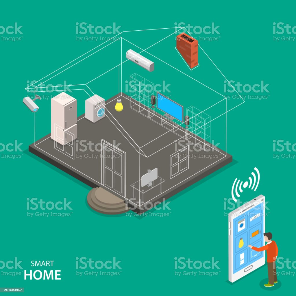 Smart home isometric flat vector concept. vector art illustration