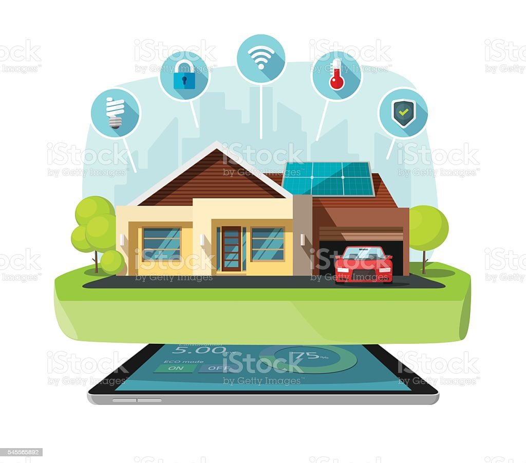 Smart home modern future house vector illustration, solar energy technology vector art illustration