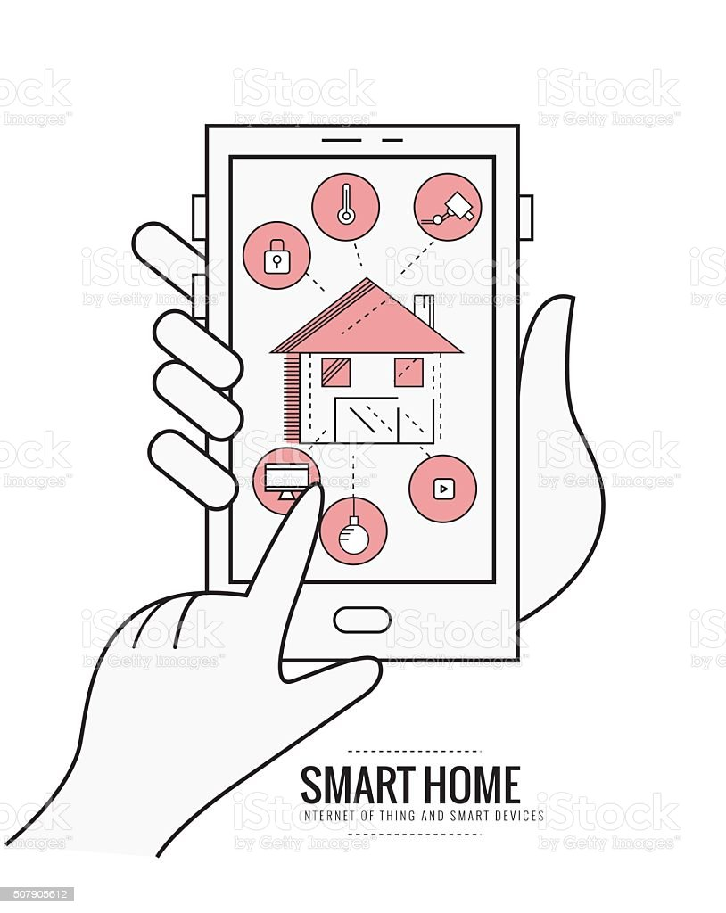 smart home technology system with centralized control. vector art illustration