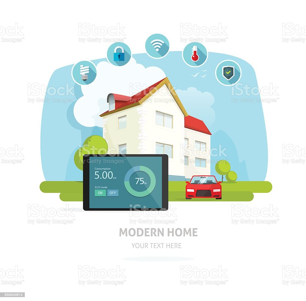 Smart home vector illustration, flat house technology vector art illustration