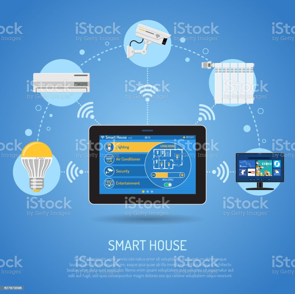 Smart House and internet of things vector art illustration