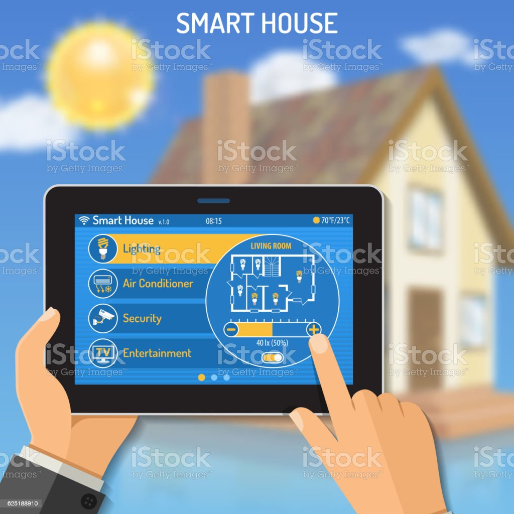 Smart House and internet things vector art illustration