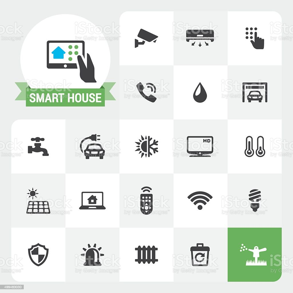 Smart House base vector icons and label vector art illustration
