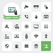 Smart House base vector icons and label