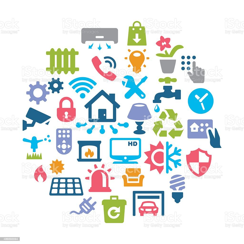 Smart House Collage icons vector art illustration