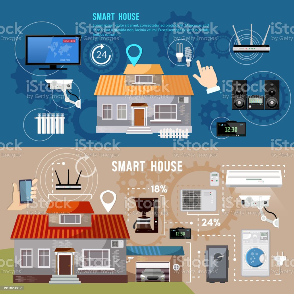 Smart House Design Concept. Remote Control Of House. Smart Home Infographic  Banner. Modern