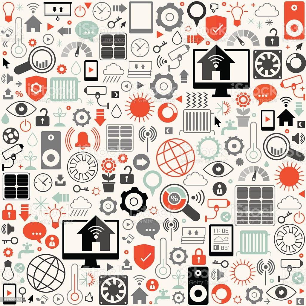 Smart House Icon Set Background vector art illustration