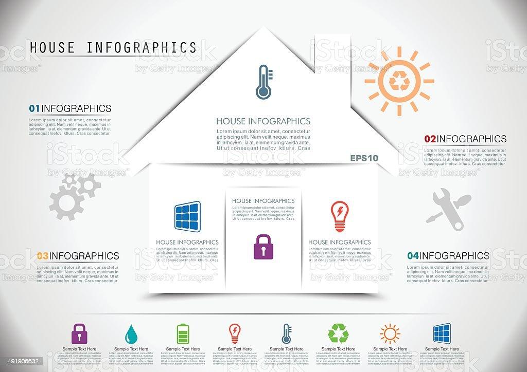 Smart House Infographics vector art illustration