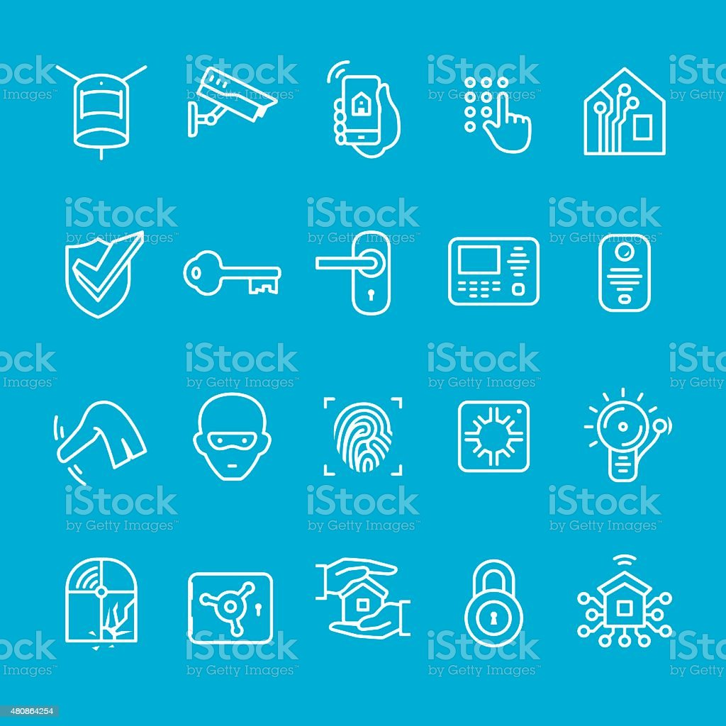 Smart house security icons collection vector art illustration
