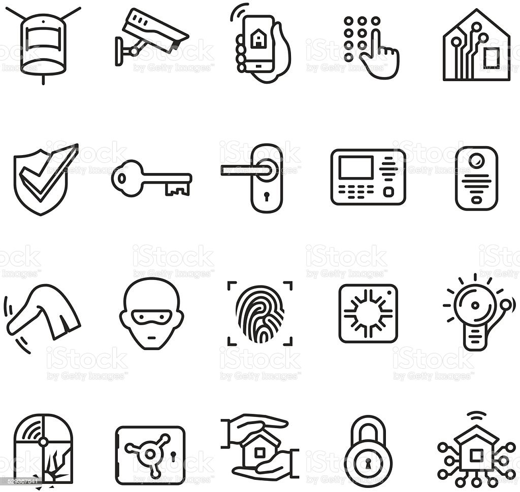 Smart house security system icon vector art illustration