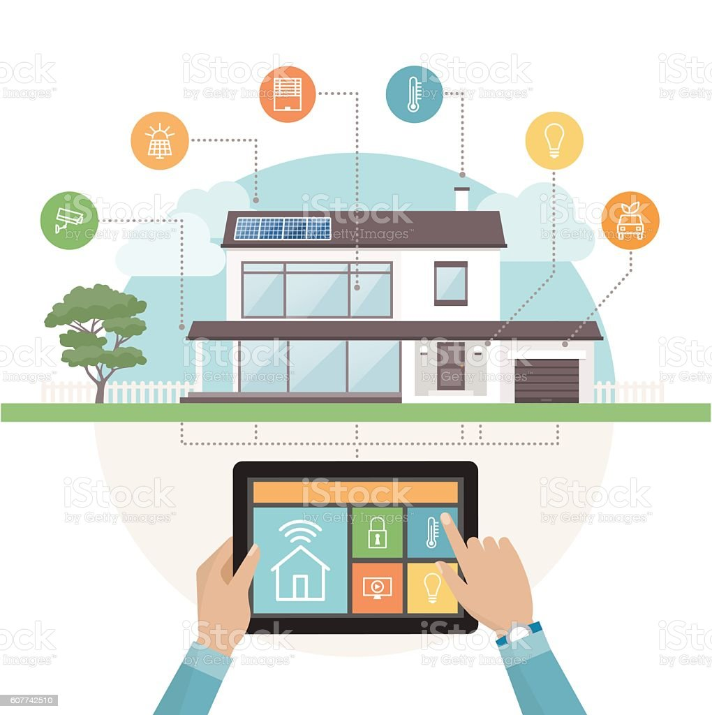 Smart house system vector art illustration