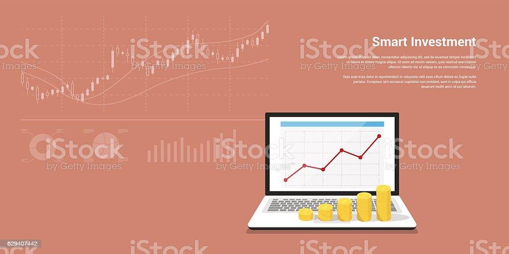 smart investment banner vector art illustration