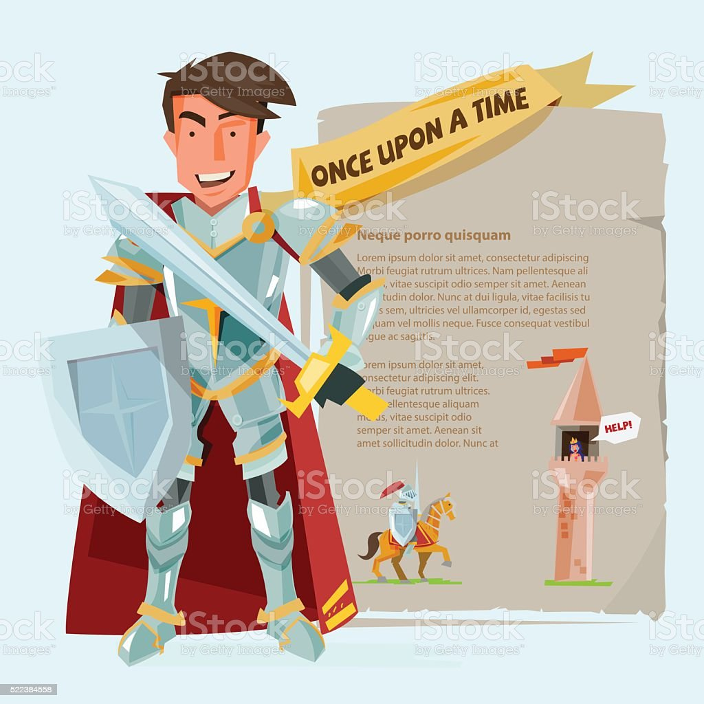 smart knight character design with battle shields and swordin. vector art illustration
