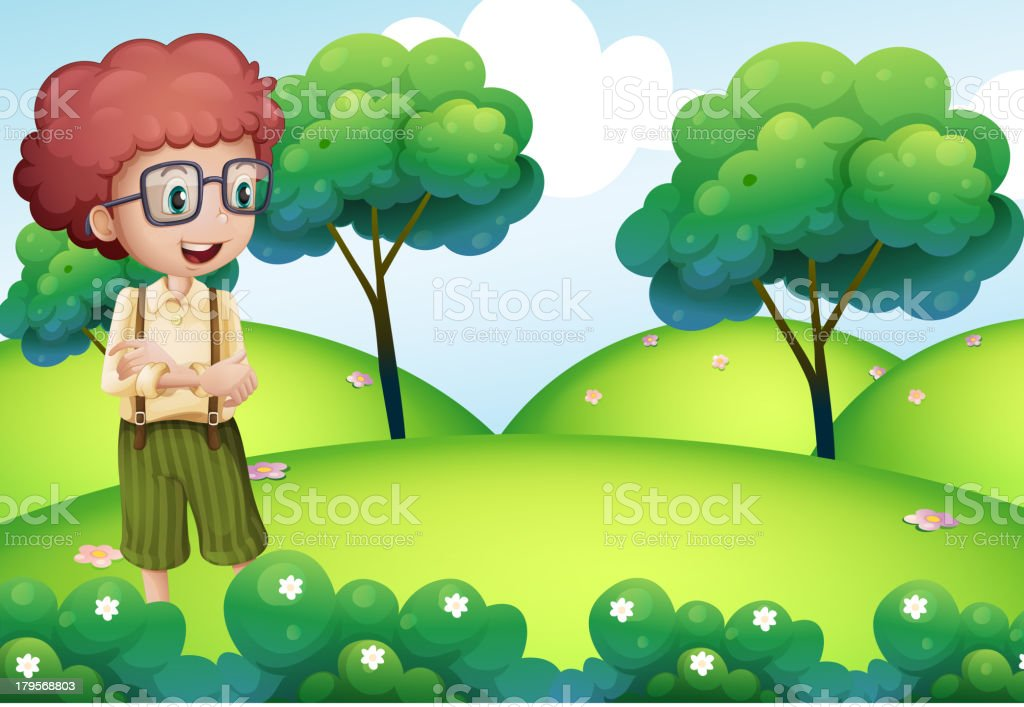 Smart looking boy standing at the top of hill royalty-free stock vector art