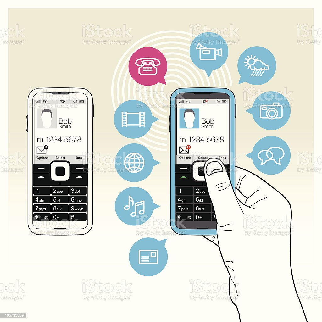 Smart Mobile / Cell Phone with icon functionality vector art illustration