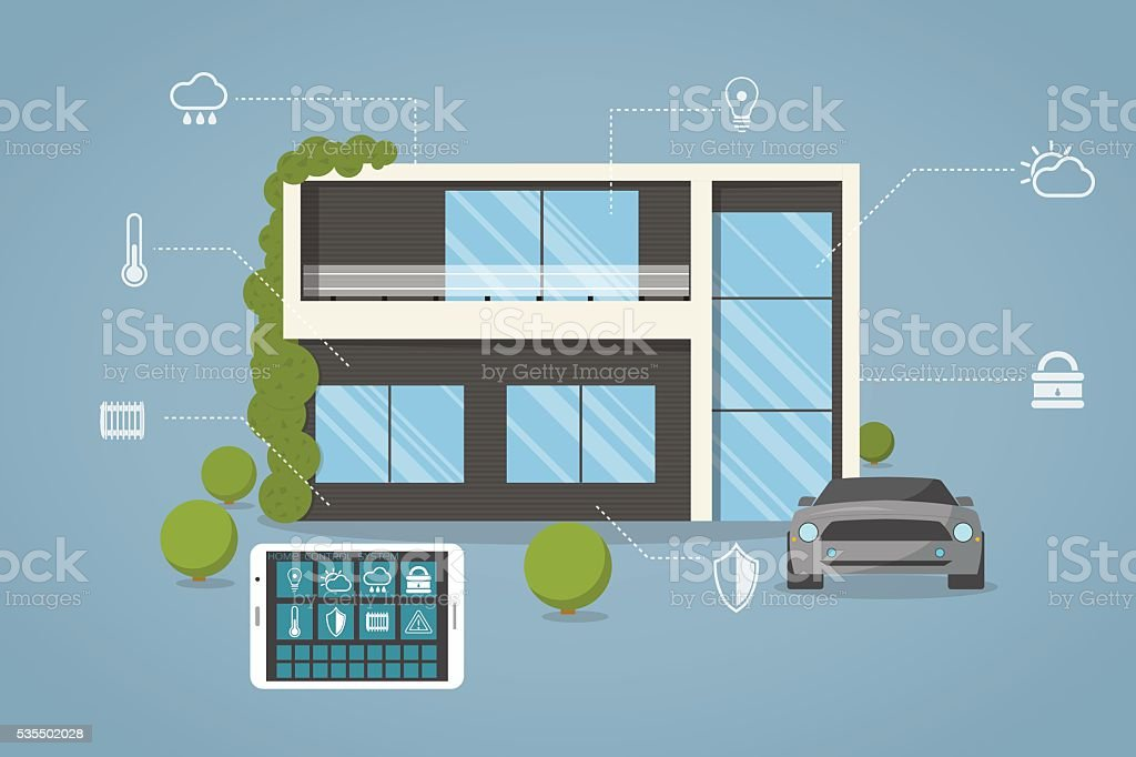 Smart modern house vector art illustration