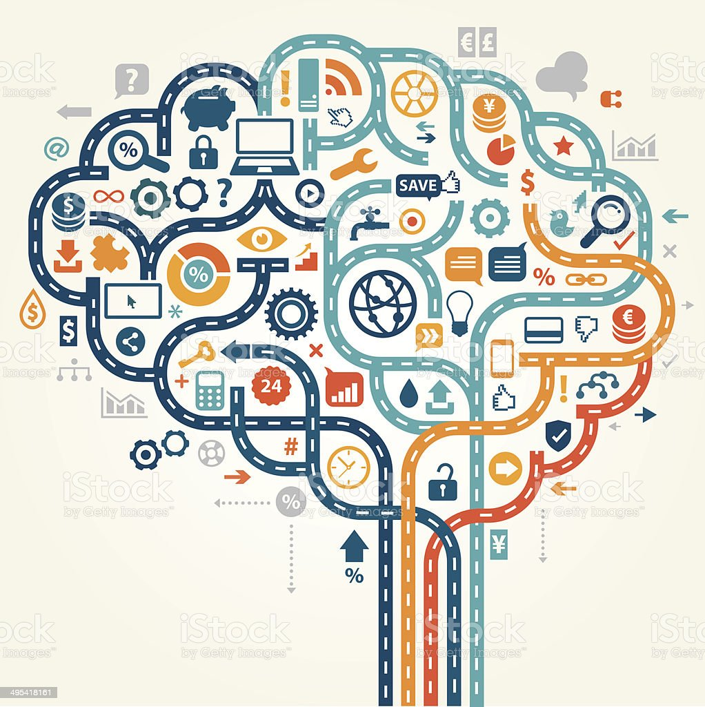 Smart Online Banking Brain vector art illustration