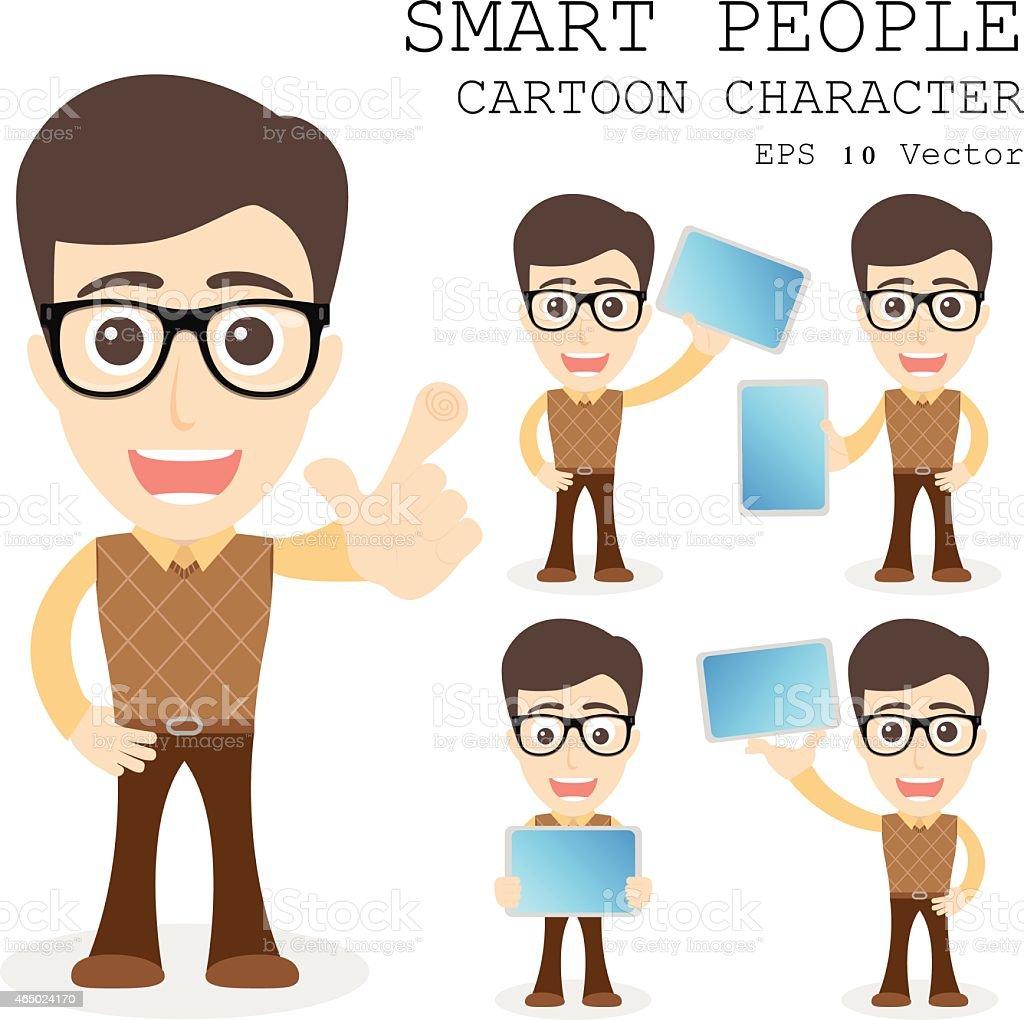Smart people cartoon character eps 10 vector illustration vector art illustration