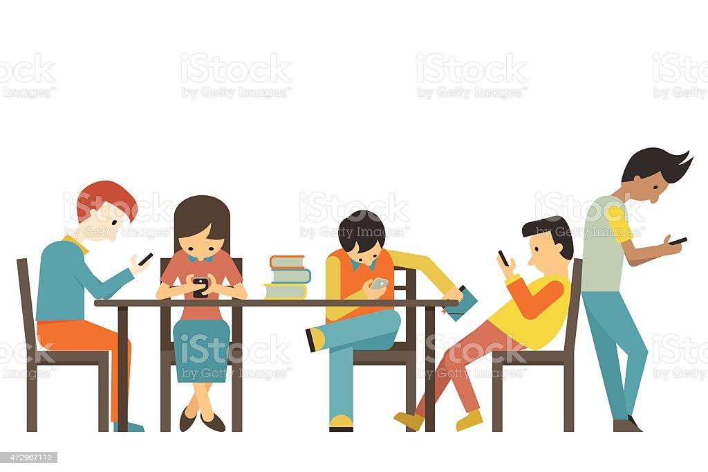 Smart phone addiction vector art illustration