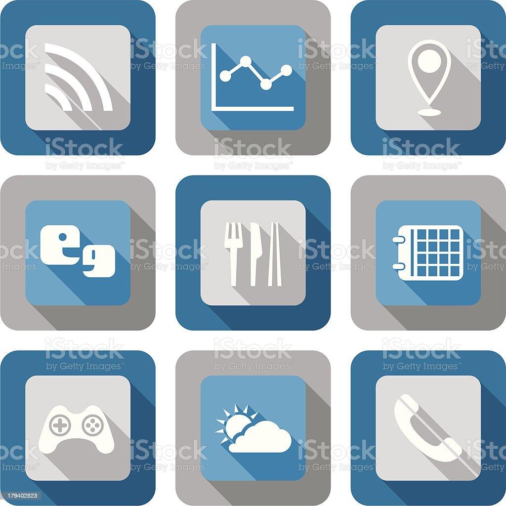 Smart phone application icon set royalty-free stock vector art