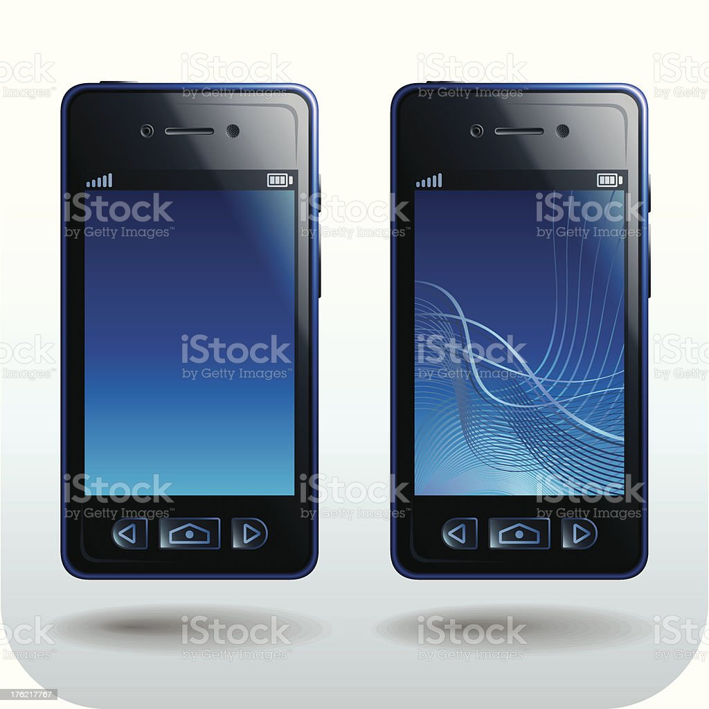 Smart Phone black and blue royalty-free stock vector art