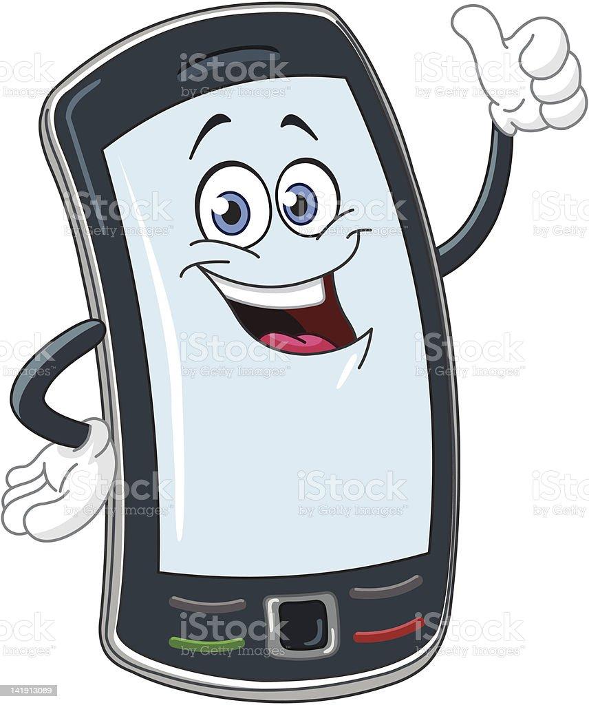 Smart phone cartoon royalty-free stock vector art